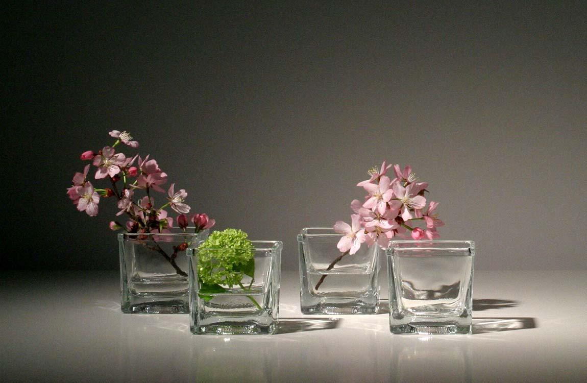 Eckige Glasgefäße mit Blüten