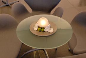 Lounge Glastisch Arrangement Dekoration Hafenwerk