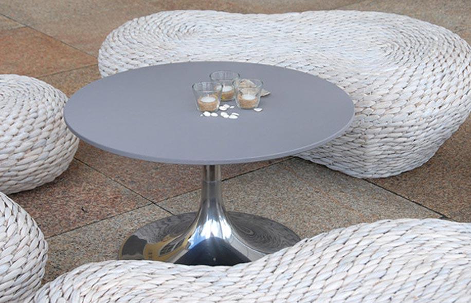 Runder Lounge Tisch steingrau mit Tulpenfuss