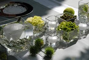 Schwimmkerkzen in Glaswürfeln – Tischdekoration Hafenwerk