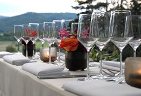 Gedeckter Tisch im Grünen Dekoration Outdoor & Sommerfest Hafenwerk