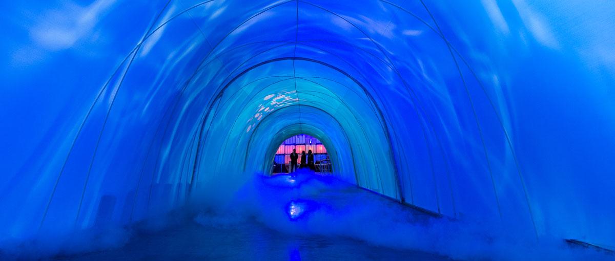 Spektakulär – mit Licht und Effekten bespielter Tunnel